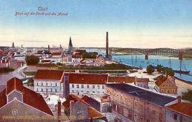 Tilsit, Blick auf die Stadt und die Memel