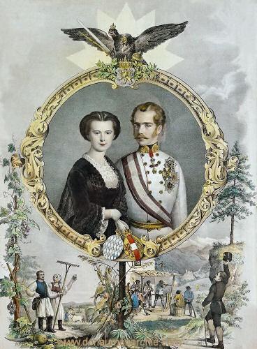 Gedenkblatt zur Vermählung von Kaiser Franz Josef und Elisabeth 1854