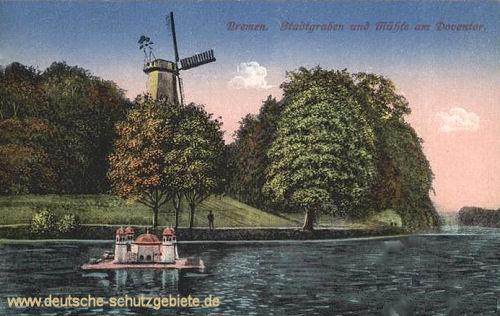 Bremen, Stadtgraben und Mühle am Doventor