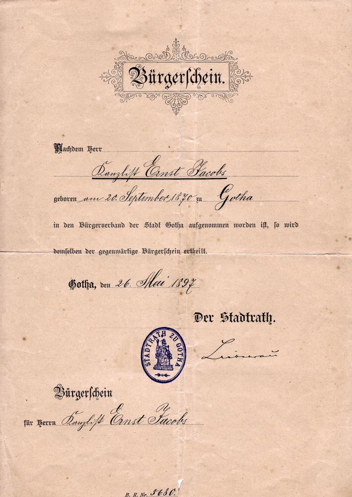 Bürgerschein Ernst Jacobs, 1897