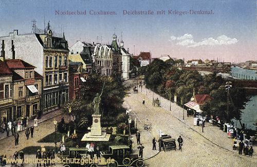 Cuxhaven, Deichstraße mit Kriegerdenkmal