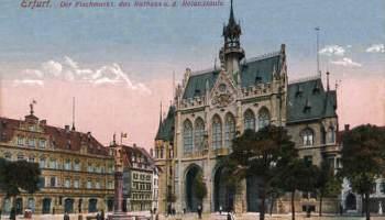 Erfurt, Fischmarkt, Rathaus und Rolandsäule