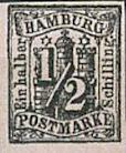 ½ Schilling, Hamburg Briefmarke 1859