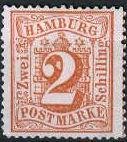 2 Schilling, Hamburg Briefmarke 1864