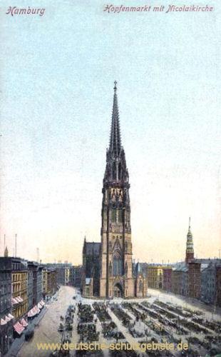 Hamburg, Hopfenmarkt mit Nicolaikirche