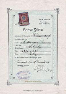 Heimatschein Österreich, Niederösterreich, 1895