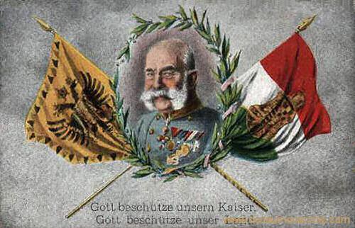 Kaiser Franz Joseph I. mit Fahnen