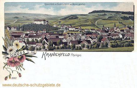 Kranichfeld mit Niederschloss von Westen gesehen