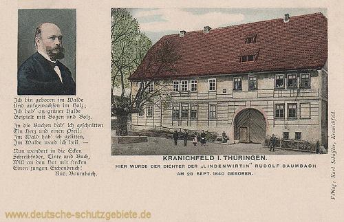 Kranichfeld, Rudolf Baumbach mit Baumbachhaus