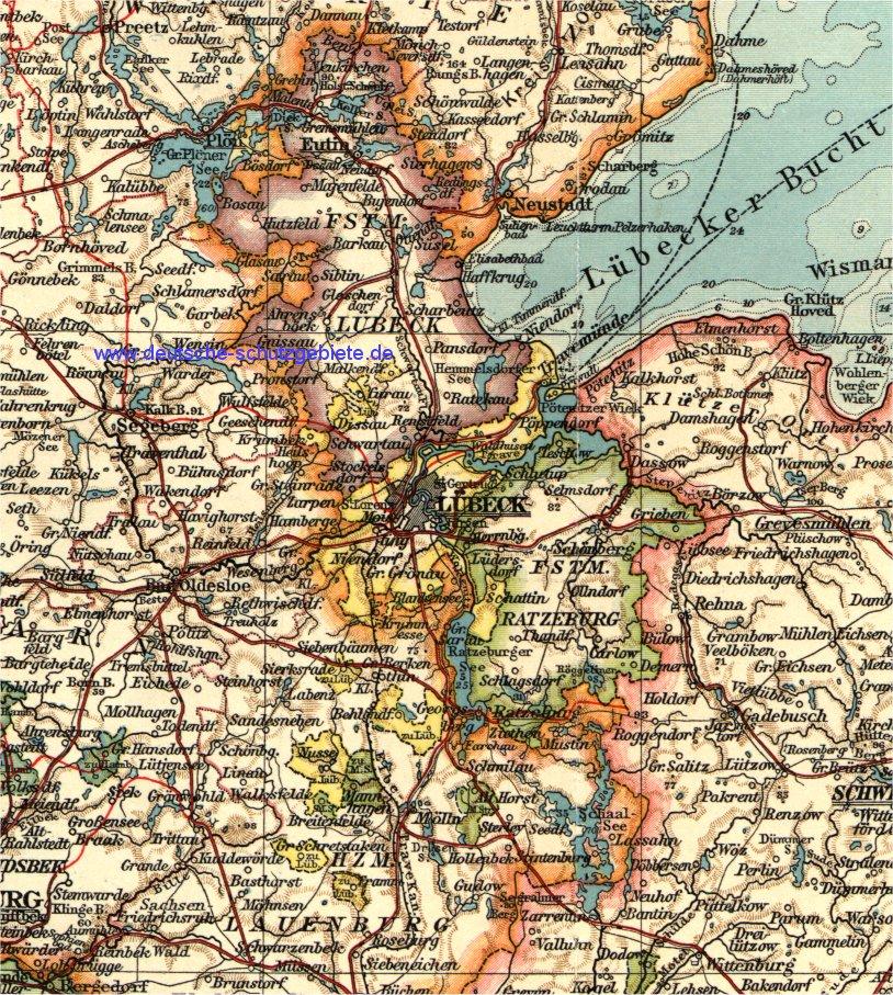 Karte Lübeck.Lübeck Fürstentum Lübeck Fürstentum Ratzeburg Karte 1900
