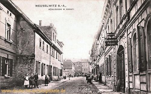 Meuselwitz S.-A. , Mühlgasse mit Markt