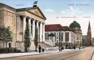 Posen, Am Theaterplatz, Stadttheater, Kgl. Ansiedlungskommission, Paulikirche