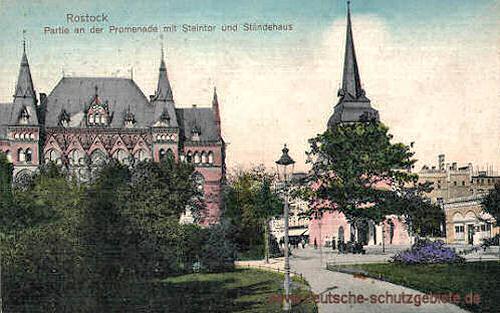 Rostock, Promenade mit Steintor und Ständehaus