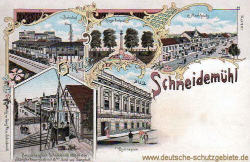 Schneidemühl, Bahnhof, Kriegerdenkmal, Marktplatz, Gymnasium, Brunnenunglück Schneidemühl 1893 16. Juni - Stärkster Wasserstrahl mit 18 % Sand und Thongehalt.