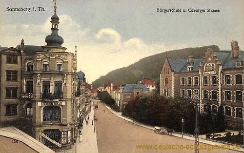 Sonneberg, Bürgerschule und Coburger Straße