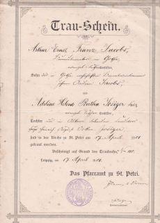Trauschein Ernst Jacobs und Helene geb. Josiger, 1901