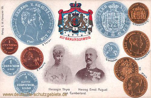Alt-Braunschweig, Münzen, Herzogin Thyra und Herzog Ernst August von Cumberland