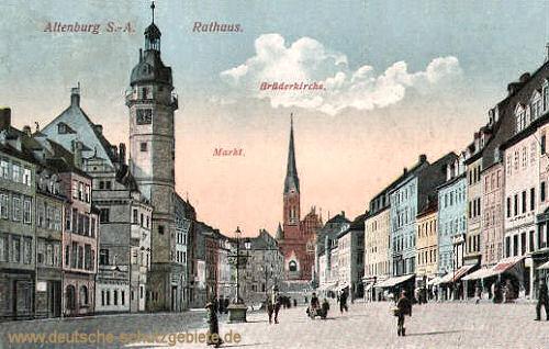 Altenburg, Rathaus, Brüderkirche, Markt
