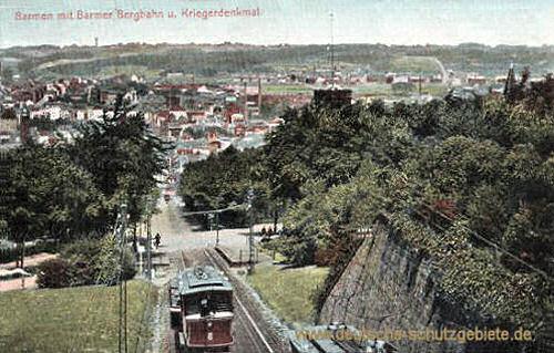 Barmen mit Barmer Bergbahn und Kriegerdenkmal