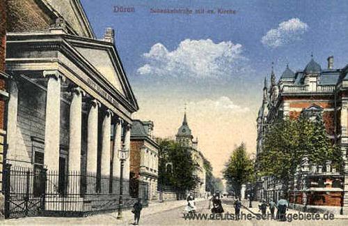 Düren, Schenkelstraße mit evangelischer Kirche