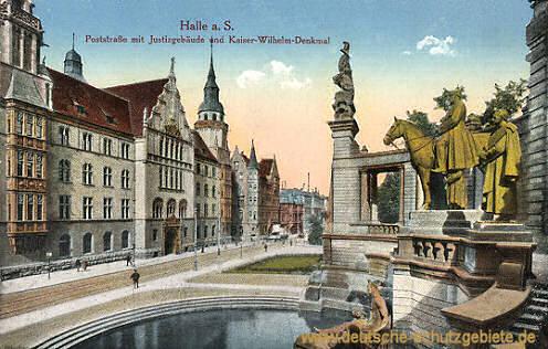 Halle, Poststraße mit Justizgebäude und Kaiser Wilhelm-Denkmal