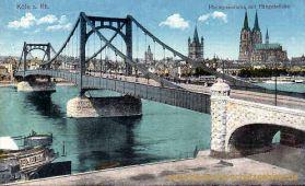 Köln, Rheinpanorama mit Hängebrücke