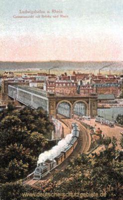 Ludwigshafen, Gesamtansicht mit Brücke und Rhein