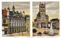 Neuß, Rathaus - Quirinskirche und Kriegerdenkmal