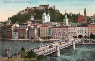 Salzburg, Staatsbrücke und Festung