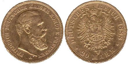 Kaiser Friedrich III. von Preußen, 20 Mark Münze Deutsches Reich 1888