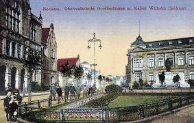 Bochum, Oberrealschule, Goethestraße mit Kaiser Wilhelm-Denkmal
