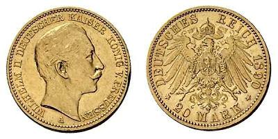 Wilhelm II. Deutscher Kaiser und König von Preußen, 20 Mark Münze Deutsches Reich 1890