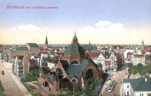 Dortmund, (Synagoge) vom Grafenhof gesehen