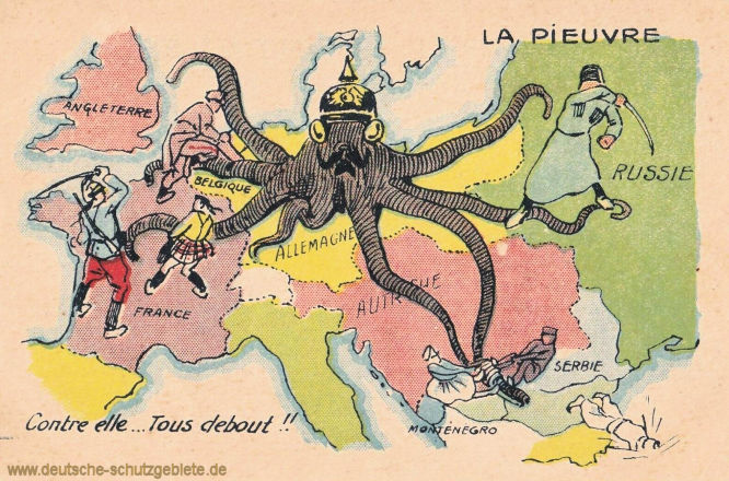 Kaiser Wilhelm II. als Krake, gegen die alle kämpfen.