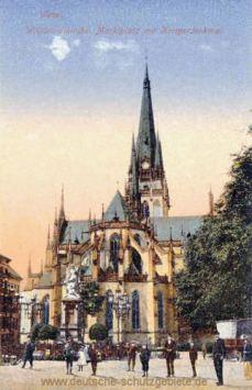 Wesel, Willibrordikirche, Marktplatz mit Kriegerdenkmal
