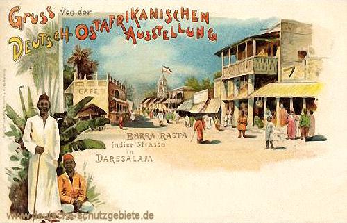 Barra Rasta Inder-Straße in Daresalam, Gruß von der Deutsch-Ostafrikanischen Ausstellung (in Leipzig) 1897