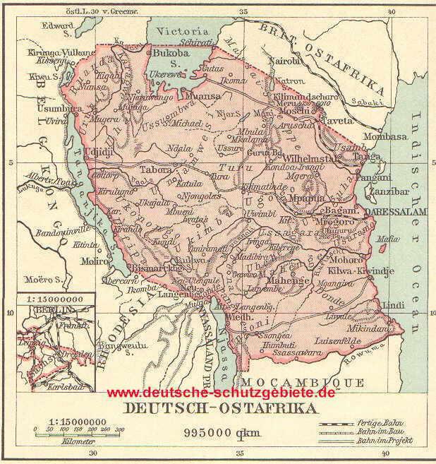 Deutsch-Ostafrika, Landkarte 1912