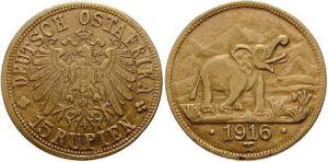 Deutsch Ostafrika, 15 Rupien, 1916