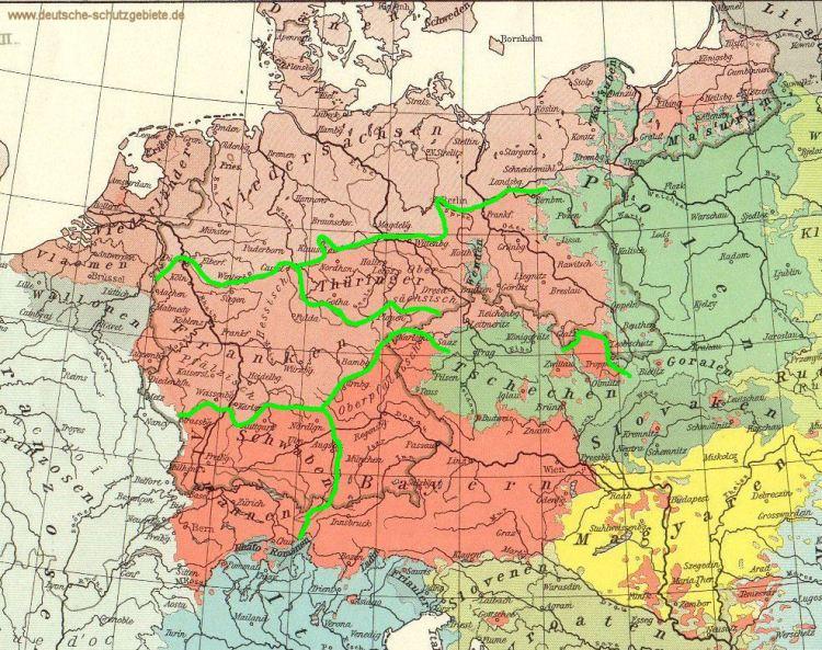 Deutsche Stämme nach Sprachgebieten (1918)