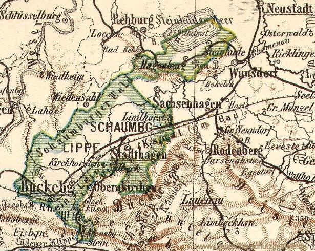 Fürstentum Schaumburg-Lippe, Landkarte