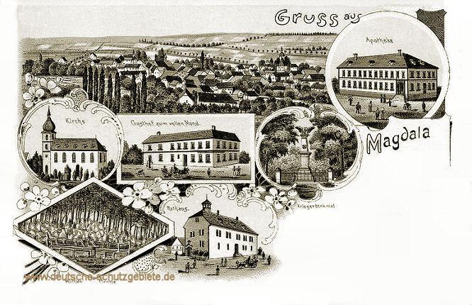Magdala, Kirche, Gasthof zum vollen Mond, Rathaus, Kriegerdenkmal, Grotte, Apotheke