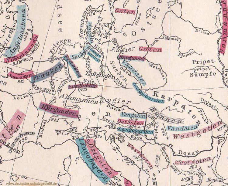 Mitteleuropa zur Völkerwanderung um 400