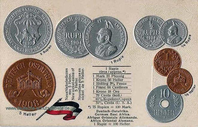 Deutsch-Ostafrika, Münzen