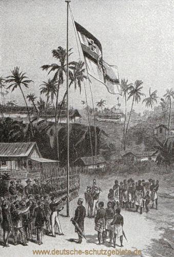 Hissung der deutschen Flagge in Bagida, Togo, am 5.7.1884