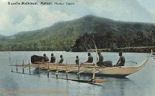 Deutsch-Neu-Guinea, Gazelle-Halbinsel, Fischerkanu