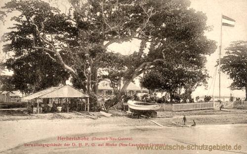 Deutsch Neu-Guinea, Herberthöhe, Verwaltungsgebäude der D.H.P.O. auf Mioko, Neu-Lauenberg-Gruppe