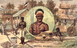 Deutsch-Neu-Guinea, Soldat der Deutschen Schutztruppe, Baumwohnungen