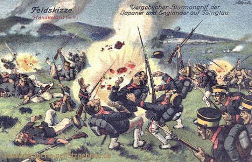 Vergeblicher Sturmangriff der Japaner und Engländer auf Tsingtau