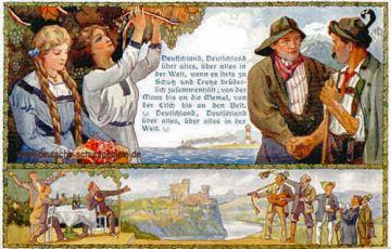 Deutschlandlied, Deutsche Frauen, deutsche Treue, deutscher Wein und deutscher Sang!