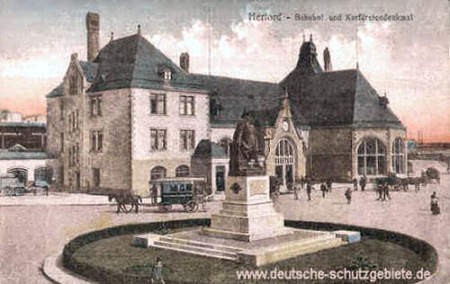 Herford, Bahnhof und Kurfürstendenkmal